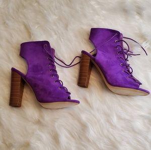 Purple cutout/ open toe, blocked heel bootie